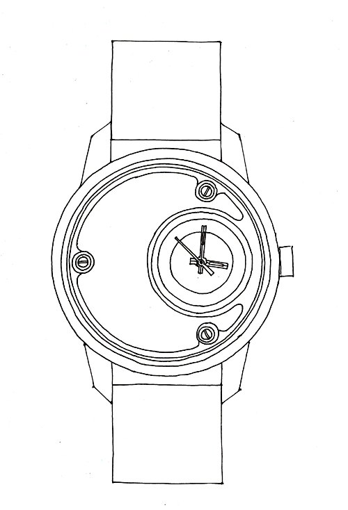 Design de la Montre de Luxe Alb 000, dessin au trait, Esquisse
