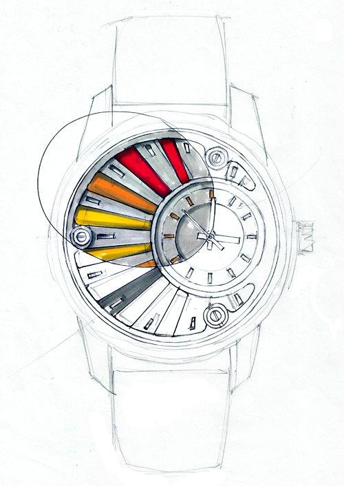 Design de la Montre de Luxe Alb 000, dessin au feutre à alcool type tria, Etude des couleurs
