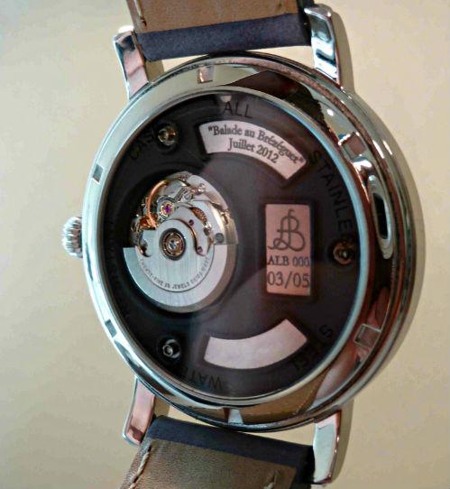 Photo Face Arriere Montre Bracelet Art Luxe Homme Alb 000 Atelier Hologer ALB Collection 2013 Eta 2671 Mouvement Suisse