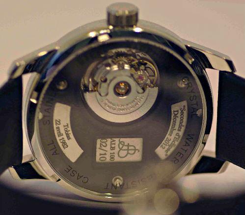 Photo Face Arriere Montre Bracelet Art Luxe Homme Alb 100 Atelier Hologer ALB Collection 2013 Eta 2671 Mouvement Suisse